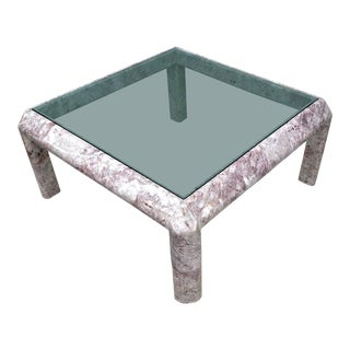 1970s Square Marble Low Table With Inset Smoked Glass Top For Sale