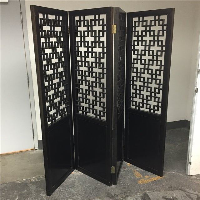 Custom Made Four Panel Wooden Screen - Image 7 of 11