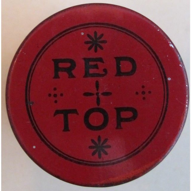 Vintage Red Top Snuff Tin With Tax Stamp For Sale - Image 4 of 6