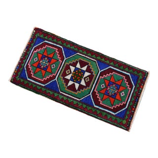 """Hand Knotted Oushak Rug. Colorful Rug, Bath Mat, Laundry Decor 1'5"""" X 2'11"""" For Sale"""