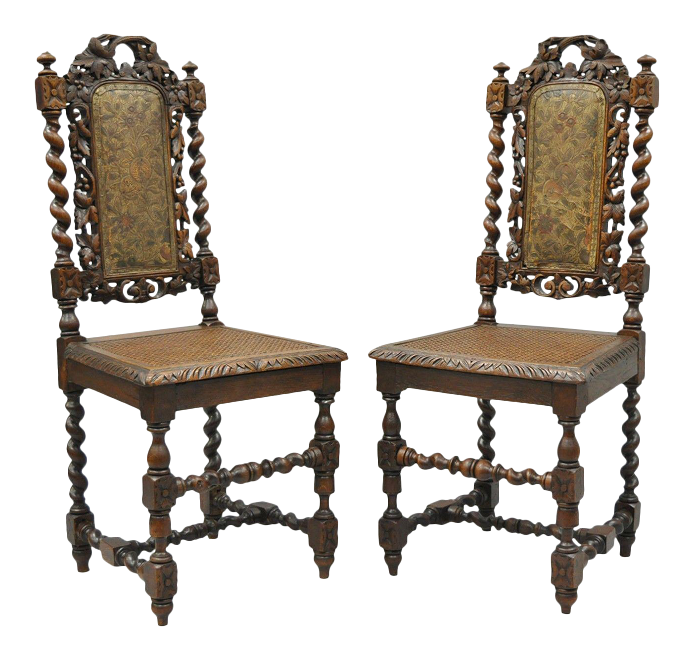 Renaissance Revival Carved Oak Wood Black Forest Barley Twist Cane Chairs    A Pair