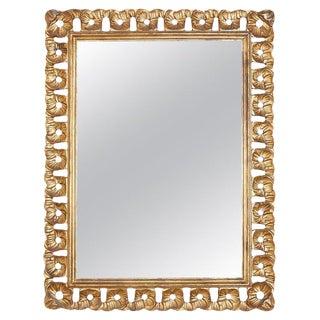 Italian Venetian Carved Ribbon Giltwood Wall Mirror For Sale