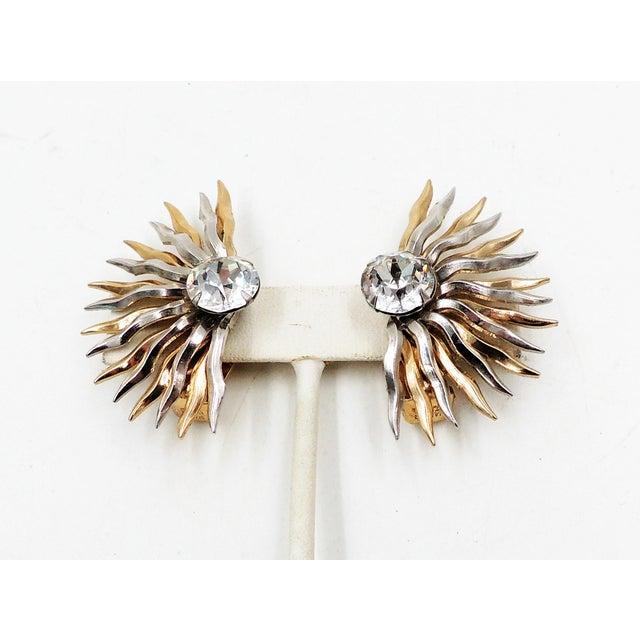 1950s Napier Sunburst Rhinestone Earrings For Sale In Philadelphia - Image 6 of 10