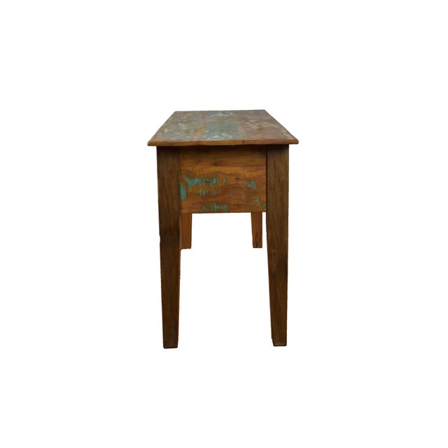 Cabin Reclaimed Wood Console Table For Sale - Image 3 of 4