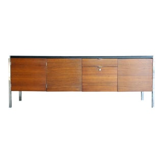 Stow Davis Chrome & Walnut Credenza For Sale