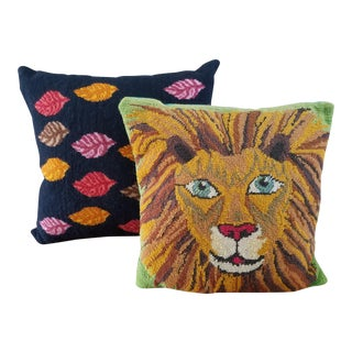 Boho Chic Needlepoint Pillows - A Pair
