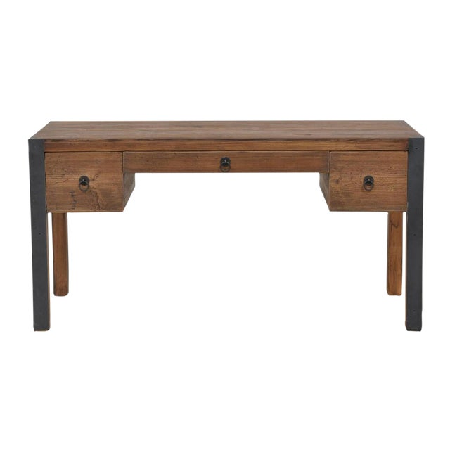 Reclaimed Wood & Iron Desk - Image 1 of 2