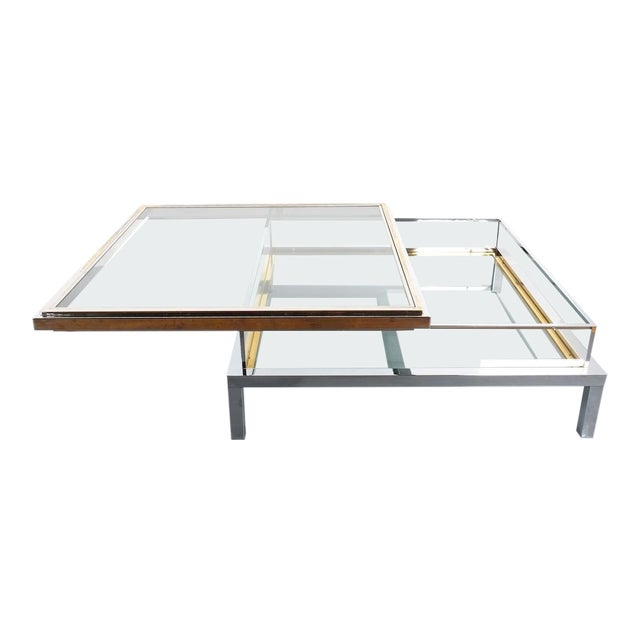 Refurbished Large Maison Jansen Brass and Chrome Vitrine Coffee Table, 1970 For Sale