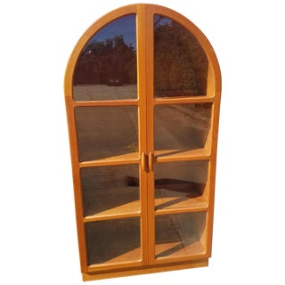 Beautiful Rare Ellipse Shape Teak Glass Door Cabinet For Sale
