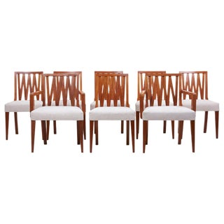 Newly Restored Set of 8 Lattice Back Dining Chairs Attributed to Paul T. Frankl For Sale
