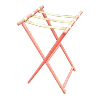 1940s Red Wood & Canvas Folding Luggage Rack For Sale