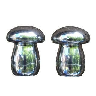 Mid-Century Pewter Mushroom Salt & Pepper Shakers