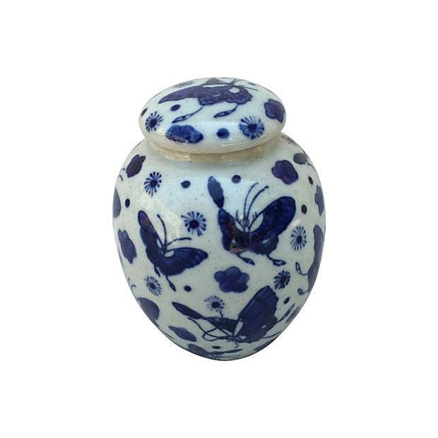 Blue & White Butterfly Jar - Image 1 of 5