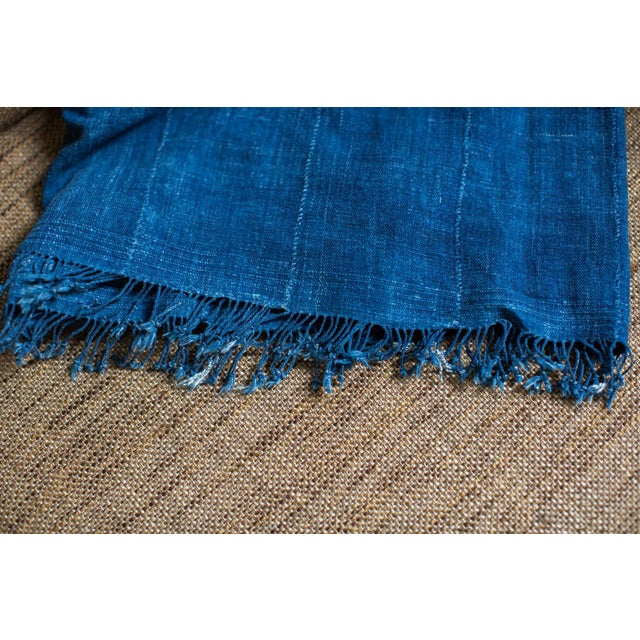 "Vintage Indigo African Batik Throw - 4' x 6'3"" - Image 4 of 7"