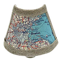 Vintage Mid Century Modern Map of Boston Harbor Night Light For Sale