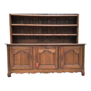 Antique French Country Carved Oak Sideboard Buffet For Sale