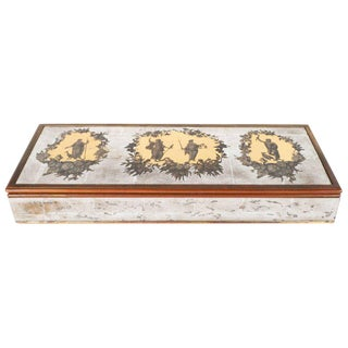 Mid-Century Modern Reverse Eglomisé Gold Mirrored Box by Piero Fornasetti For Sale