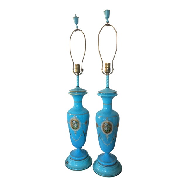 Pair of Table Lamps Antique French Blue Glass Opaline - Image 1 of 6