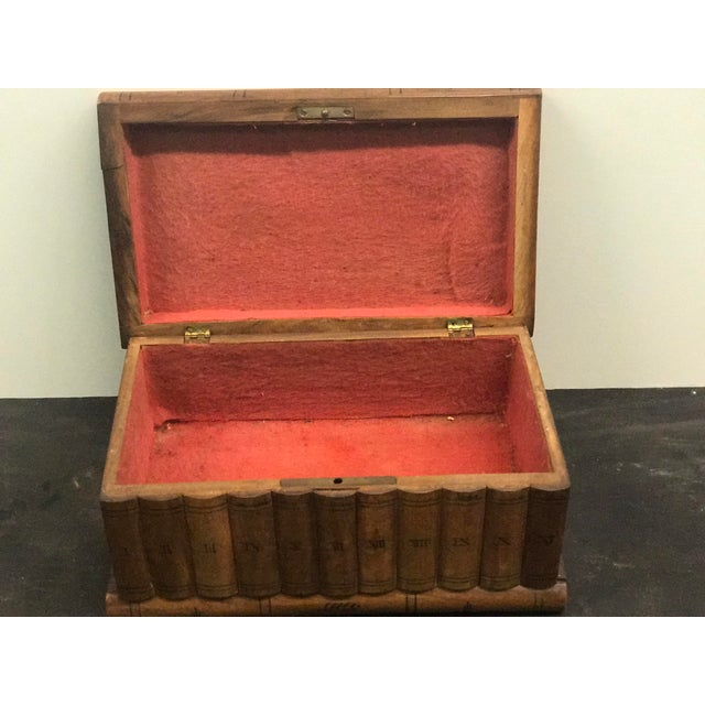 Wood Wooden Faux Book Jewel Box For Sale - Image 7 of 9