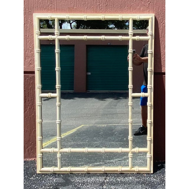 Late 20th Century Vintage Coastal Double Bamboo Mirror For Sale - Image 5 of 9