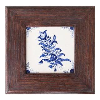 Antique Dutch Delft Framed Floral Tile For Sale
