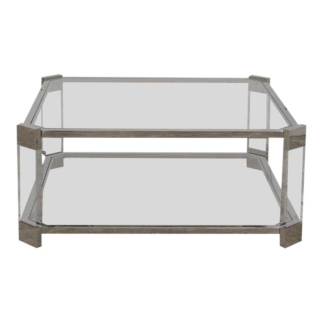 Mitchell's Gold + Bob Williams Contemporary Satin Nickel and Acrylic Melrose Cocktail Table For Sale