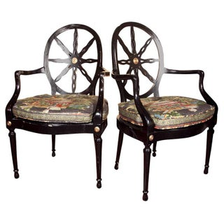Napoleon Style Ebonized Armchairs - A Pair For Sale