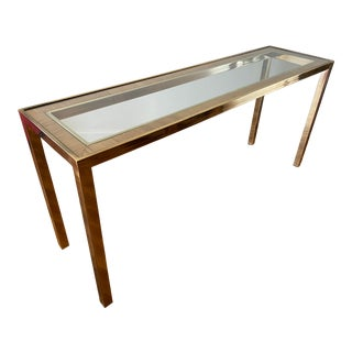 Hollywood Regency Brass and Glass Console Table With Rattan Inlay For Sale