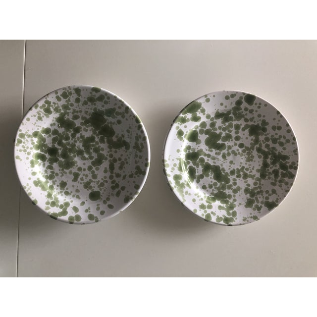Ceramic Penny Morrison Green Speckled Ceramic Plates - a Pair For Sale - Image 7 of 7