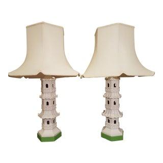 Vintage Paul Hanson Pagoda Lamps - a Pair For Sale