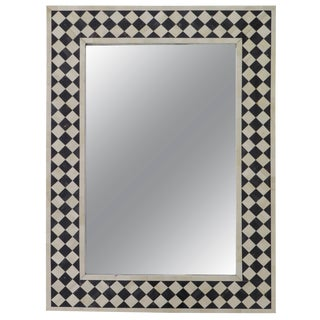 Anglo-Indian Black and White Bone Inlay Mirror Checkerboard Design For Sale