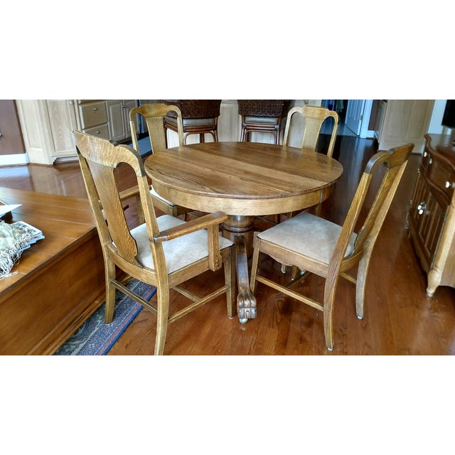 Antique Claw Foot Dining Table & 4 Chairs - Image 2 of 11