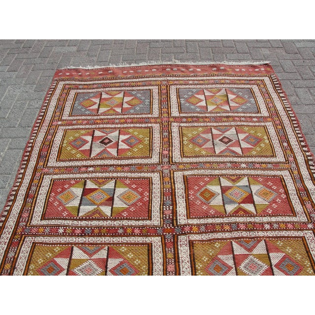 "Vintage Turkish Kilim Rug - 65.5′″ × 97"" For Sale - Image 10 of 13"