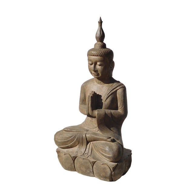 Asian Buddha Meditation Statue - Image 3 of 6