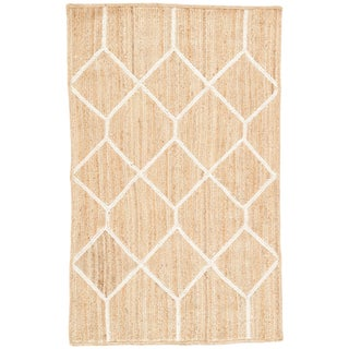 Nikki Chu by Jaipur Living Aten Natural Trellis Beige/ White Area Rug - 8′ × 10′ For Sale