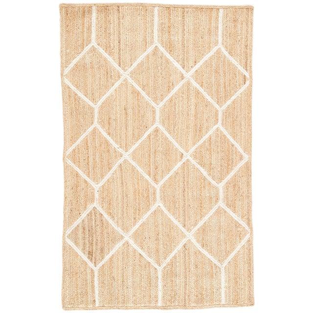 Nikki Chu by Jaipur Living Aten Natural Trellis Beige/ White Area Rug - 8′ × 10′ For Sale