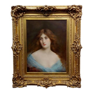 "Angelo Asti ""Portrait of a Beautiful Girl"" Oil Painting, 19th Century For Sale"