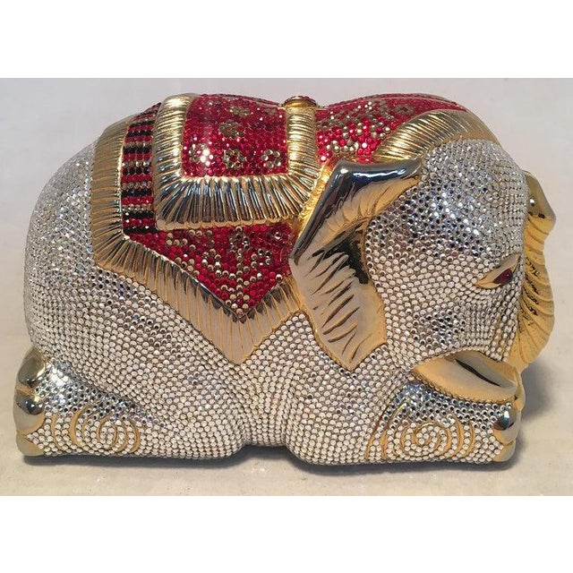 RARE Judith Leiber Swarovski Crystal Elephant Minaudiere Evening Bag Clutch in excellent condition. Adorable gold metal...