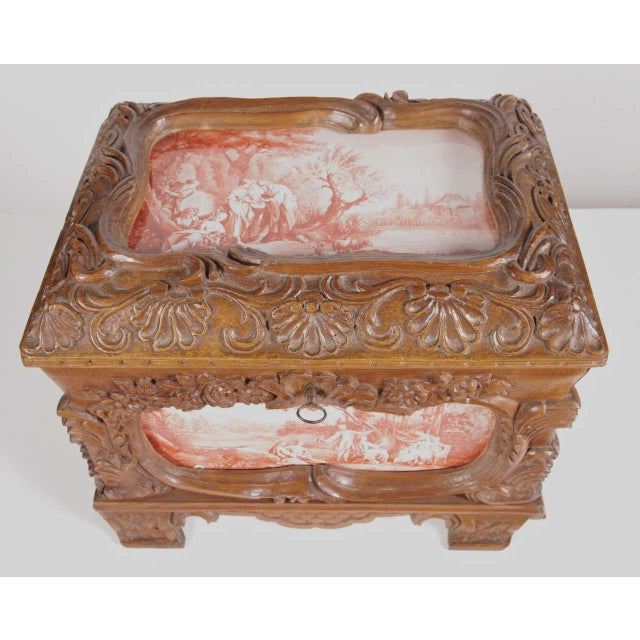 19th Century French Carved & Hand-Painted Pastoral Scenes Tile Jewelry Box - Image 3 of 9