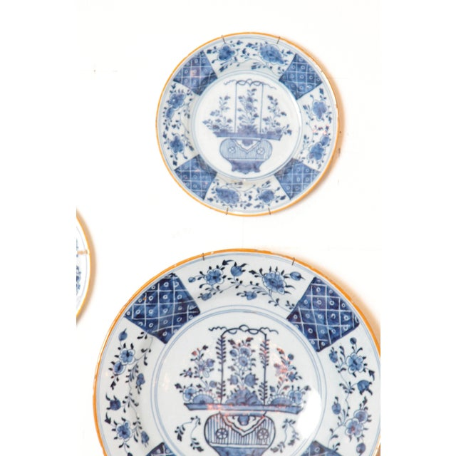 Chinese Flower Basket / Blue and White Delft Plates / Group of Seven For Sale - Image 4 of 13