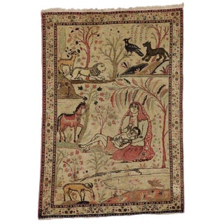 Antique Tabriz Persian Pictorial Rug, Persian Wall Hanging, Landscape Tapestry - 4' X 6' For Sale