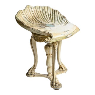Venetian Painted Carved Wood Grotto Piano Stool, 19th. C. For Sale