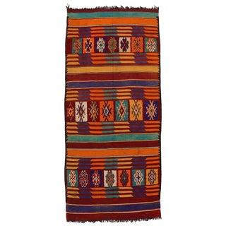 Vintage Mid-Century Berber Moroccan Kilim Rug - 6′1″ × 13′7″ For Sale