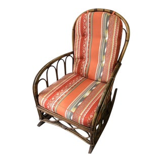 1950s Boho Chic Rattan Rocking Chair For Sale