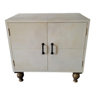 Vintage Transitional Parchment Two Door Cabinet For Sale