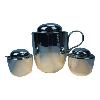 Lorenzo Porcelli for Dansk Silver Plate Tea Coffee Service - Set of 3 For Sale