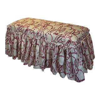 Custom French Style Bench With Hunt Slonem Hutch Print Fabric Slipcover For Sale