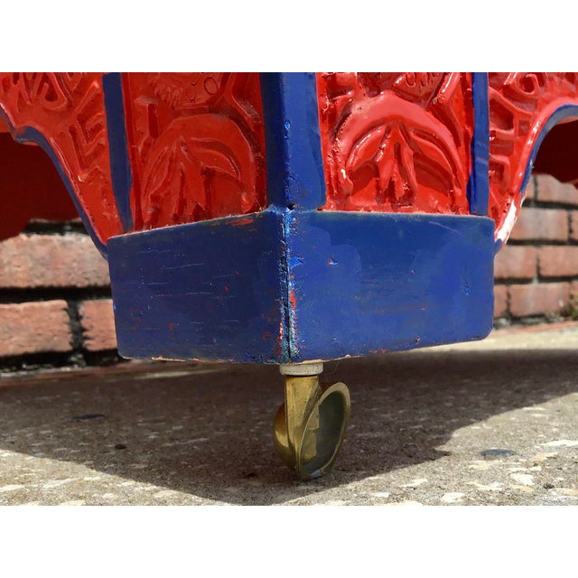 Red Lacquered Asian Bench/Ottoman For Sale - Image 9 of 10
