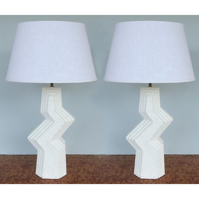 Mid-Century Modern Geometric Plaster Table Lamps-A Pair For Sale - Image 13 of 13