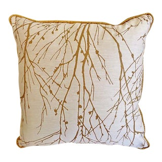 "Custom Made Larsen Wintertree II Abstract Nature Scene Pillow - 18"" x 18"" For Sale"